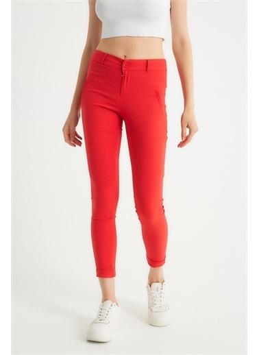 Robin Robin Dar Kesim Kumaş Pantolon Kırmızı Kırmızı